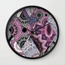 The national pattern in the patchwork . Purple Wall Clock