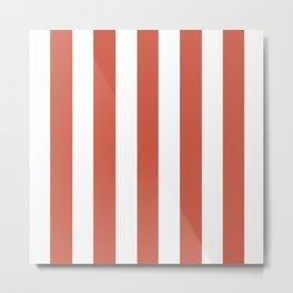 Dark coral red - solid color - white vertical lines pattern Metal Print