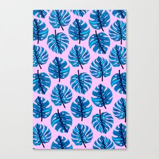 Blue monestera leaves pattern on pink background Canvas Print