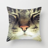 meow Throw Pillows featuring Meow by BURNEDINTOMYHE∆RT♥