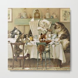 The Peril of Pussy Cat Breakfast Time Metal Print