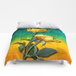 Gold Roses & Vibrant Watercolor Comforters