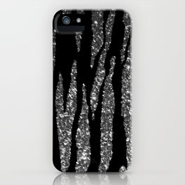 Black and Silver Glitter Zebra Stripes iPhone Case