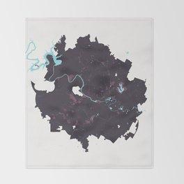 Austin Texas Minimalist Map (Plum) Throw Blanket
