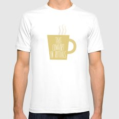 Take Comfort in Rituals. Coffee. White MEDIUM Mens Fitted Tee