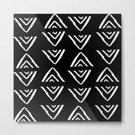 mudcloth 16 minimal textured black and white pattern home decor minimalist beach Metal Print