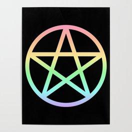 Rainbow Pentacle on Black Poster