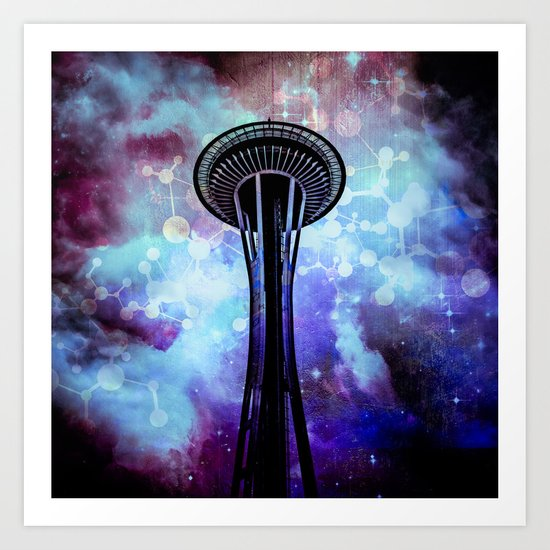 Space Needle - Seattle Stars Clouds Fog Art Print