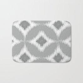 Elegant White Gray Retro Circles Squares Ikat Pattern Bath Mat