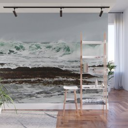 Green Wave Breaking Wall Mural