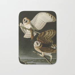 Barn Owl - Vintage Bird Illustration Bath Mat