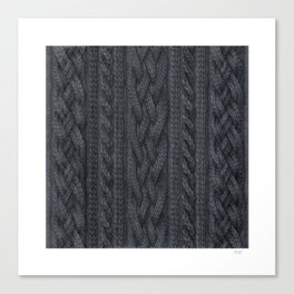 Charcoal Cable Knit Canvas Print