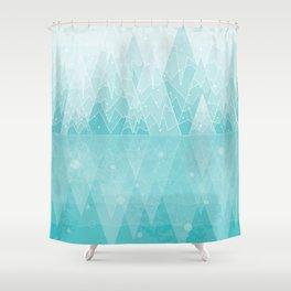 Geometric Lake Mountain IV - Winter Shower Curtain
