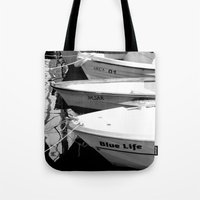 boats Tote Bags featuring boats by habish