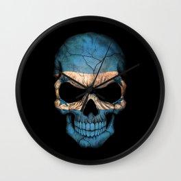 Dark Skull with Flag of Honduras Wall Clock
