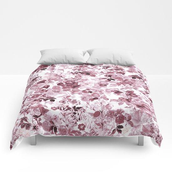 fleuri en rose Comforters