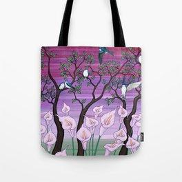 calla lilies & tree swallows Tote Bag