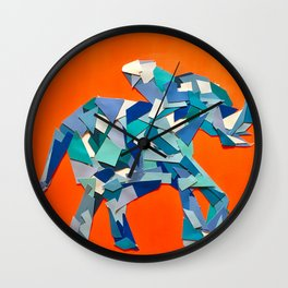 Elephant collage of paint samples Wall Clock