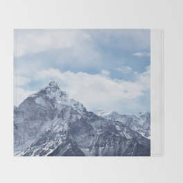 Snowy Mountain Peaks Throw Blanket