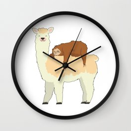 Cute Llama with a Sleeping Sloth Gift Wall Clock