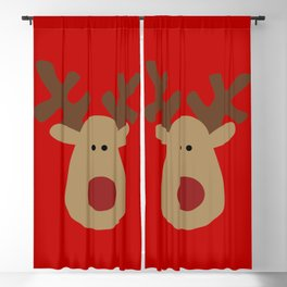 Christmas Reindeer-Red Blackout Curtain