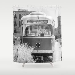 On the Waterfront Trolley Shower Curtain