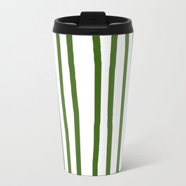 Simply Drawn Vertical Stripes in Jungle Green Travel Mug