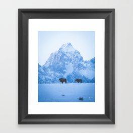 Winter Bison - Vertical Framed Art Print