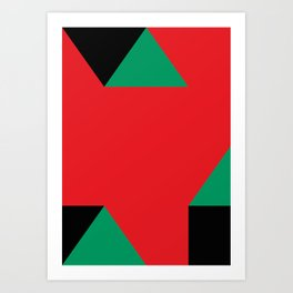 Green triangular base prisms floating in a deep red space. Art Print