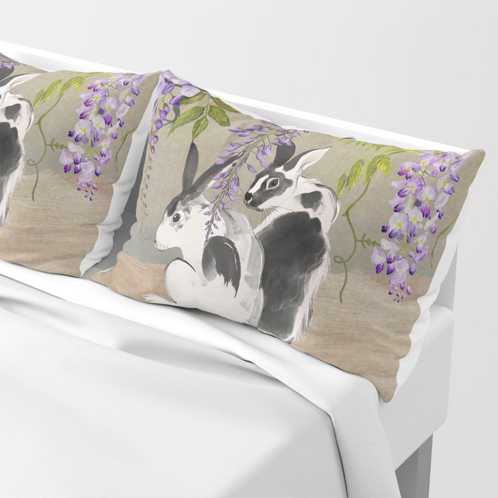 Two Rabbits Under Wisteria Tree Pillow Sham
