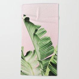 Banana Leaf on pink Beach Towel