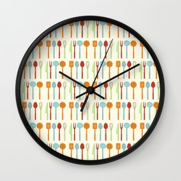 Kitchen Utensil Colored Silhouettes on Cream Wall Clock