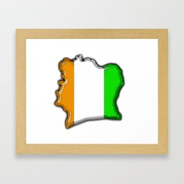 Ivory Coast Cote d'Ivoire Map with Flag Framed Art Print