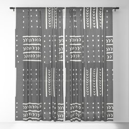 Mud cloth in black and white Sheer Curtain