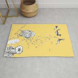 Two Tailed Duck and Jellyfish Pale Yellow Mellow Rug