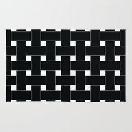 Basket Weave Black and White Rug