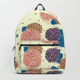 Watercolor coral brown blue hand painted floral polka dots Backpack