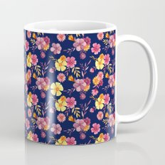 Midnight // Pink and Yellow Floral Pattern Mug