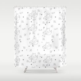 Fox and Flowers Doodle Pattern Shower Curtain