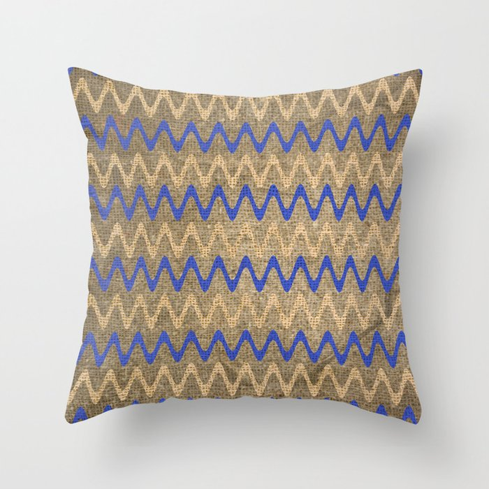 Blue and Tan Zigzag Stripes on Grungy Brown Burlap Graphic Design Throw Pillow