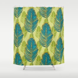 Large Palms - green Shower Curtain