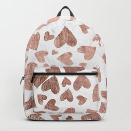 Modern rose gold handdrawn hearts love valentine white marble pattern Backpack