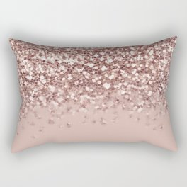 Glam Rose Gold Pink Glitter Gradient Sparkles Rectangular Pillow