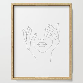 Minimal Line Art Woman with Hands on Face Serving Tray