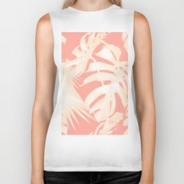 Tropical Coral Pink Palm Leaf Pattern Biker Tank