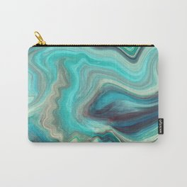 Cyan Marble - Color Liquid in Water Carry-All Pouch