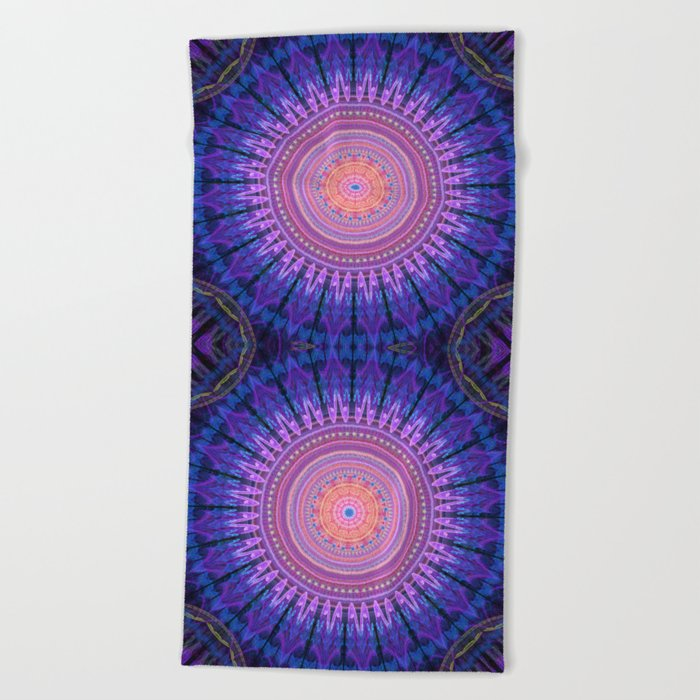 Scratchy mandala with tribal patterns and little flowers Beach Towel