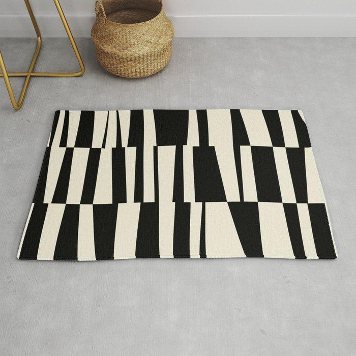 BW Oddities II - Black and White Mid Century Modern Geometric Abstract Rug