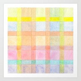 Pastel colored Watercolors Check Pattern Art Print