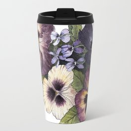 Watercolor Pansy Bouquet Travel Mug